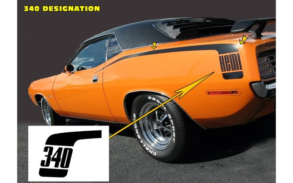 1970 Plymouth Barracuda Hockey Stick Stripes Kit - 340