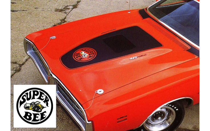 1971 Dodge Charger Super Bee Blackout Hood Stripes Decal - Bee logo