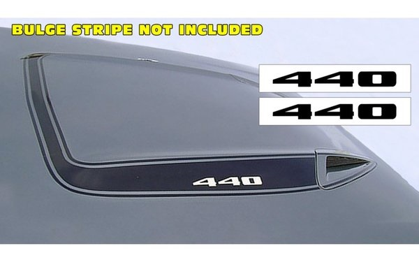 1973-74 Plymouth Road Runner Hood Bulge Decal Set - 440