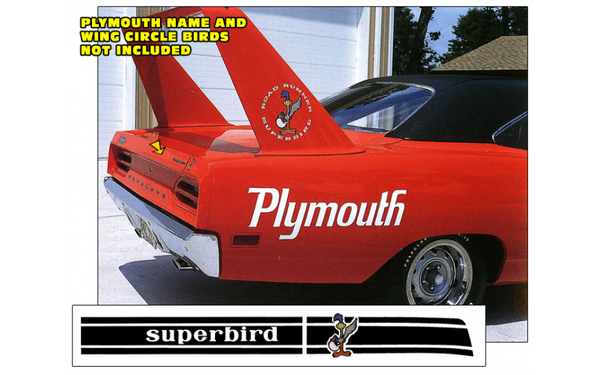 1970 Plymouth Superbird Deck Lid Stripe with Name and Standing Bird
