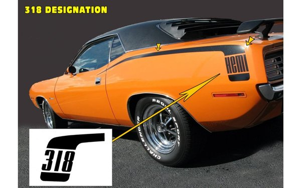 1970 Plymouth Barracuda Hockey Stick Stripes Kit - 318