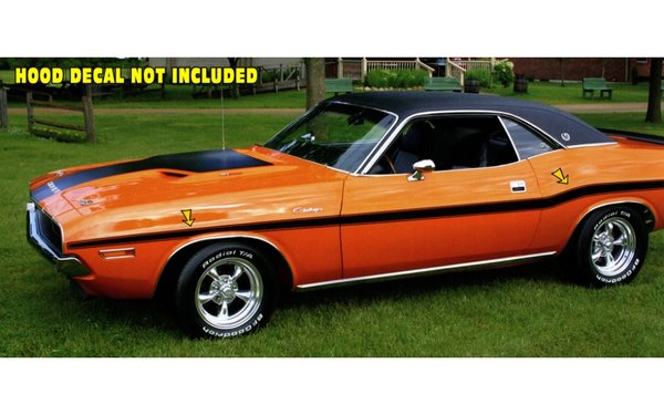 1970 Dodge Challenger Mid Body Side Stripes Kit No R/T