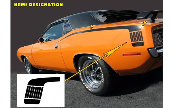1970 Plymouth Barracuda Hockey Stick Stripes Kit - HEMI