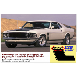 *1969 Mustang Boss 302 Side and Trunk Stripe Kit - Custom Numeral