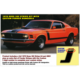 *1970 Boss 302 Mustang Complete Stripe Kit with Custom Fender Numerals