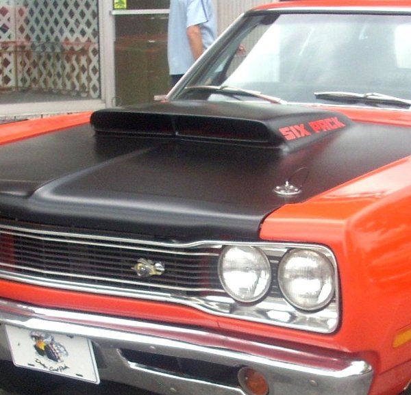 1969 1 2 dodge super bee six pack a12 lift off hood decals red set of two. Black Bedroom Furniture Sets. Home Design Ideas