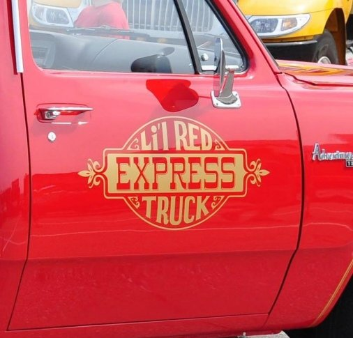 1978 1979 Dodge Li'l Red Express Truck Door Crests Lettering Decals