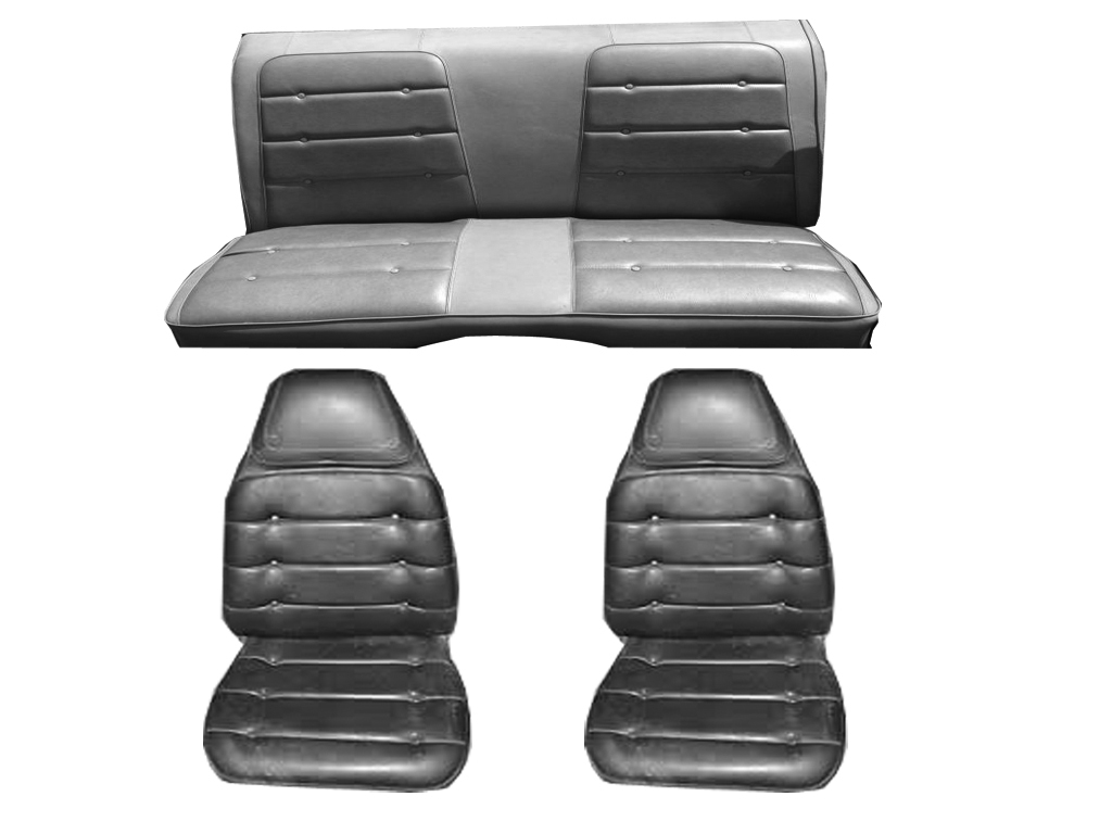 7721-BUK-100 1974 Dodge Charger and Plymouth Roadrunner Front Bucket Seat Cover Set Black