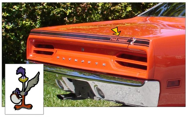 1970 Plymouth Road Runner Deck Lid Stripe with Standing Bird Decal