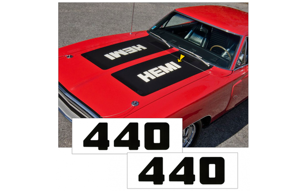 1970 Dodge Charger 440 Hood Lettering Numbers Decal Set
