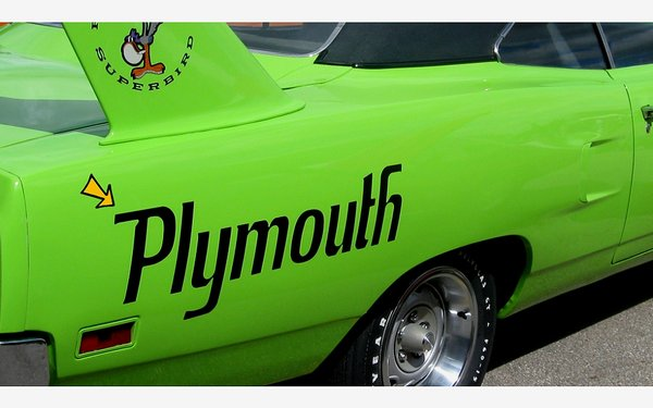 "1970 Plymouth Superbird Quarter Panel Name Decals SET - 9.5"" x 32"""