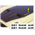 1971-73 Mustang / Boss - 351 Ram Air - Hood Decal Set