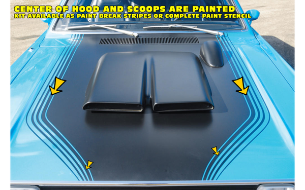 1971 1972 Dodge Demon Snorkel Scoops Hood Cowl Paint Break Stripe Kit