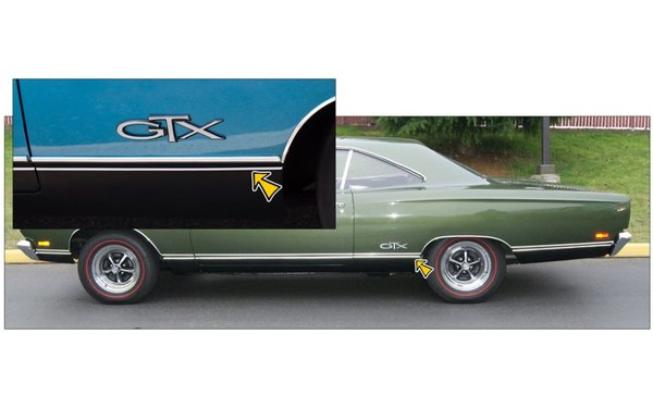 1969 Plymouth GTX Single Lower Side Body Pinstripe Kit