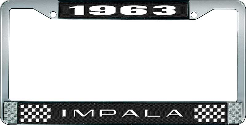 1963 Impala Black And Chrome License Plate Frame With White Lettering