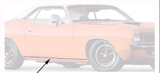 1970-1971 Plymouth Barracuda/'Cuda Rocker Trim Moldings