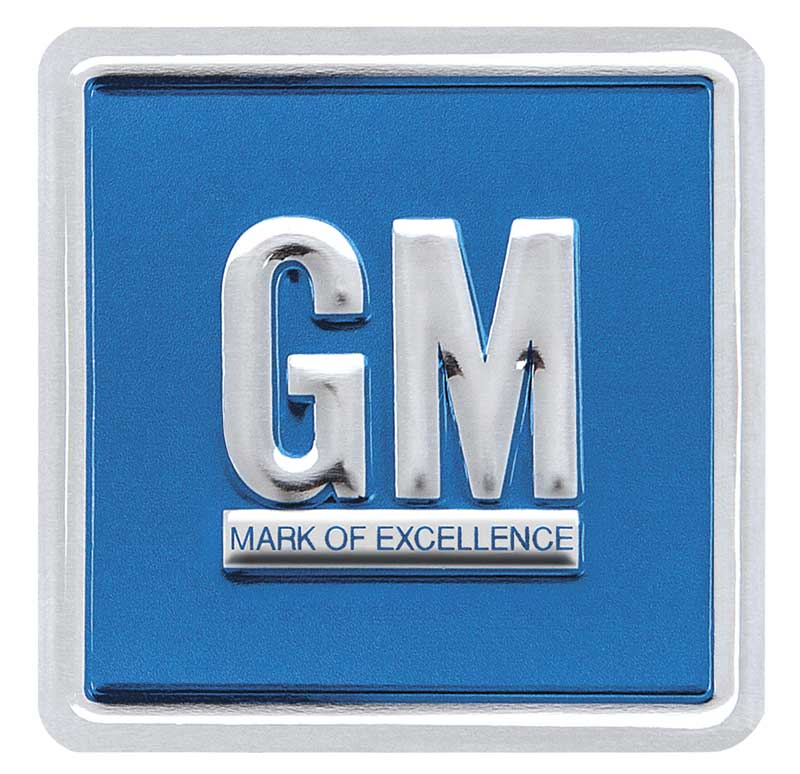 "1967-70 Embossed Blue ""GM Mark Of Excellence"" Emblem Door Decal"