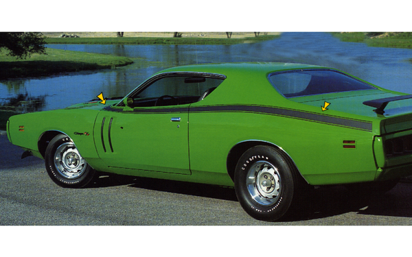 1971 Dodge Charger R/T Hood Cowl and Side Stripes Kit