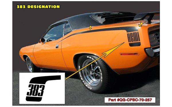 1970 Plymouth Barracuda Hockey Stick Stripes Kit - 383