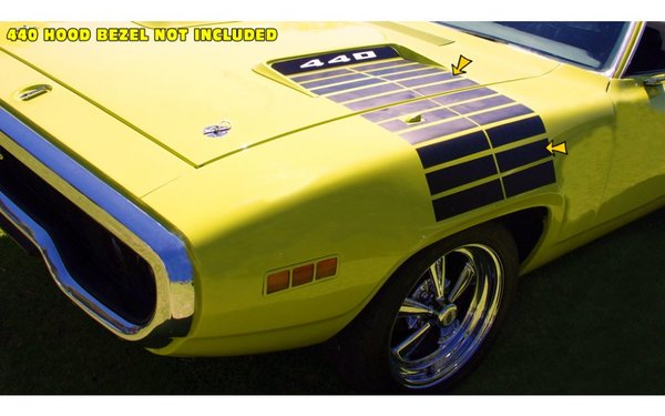 1972 Plymouth Road Runner Hood to Fender Strobe Stripes Kit