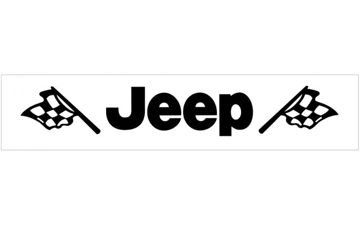 jeep with flags windshield decal