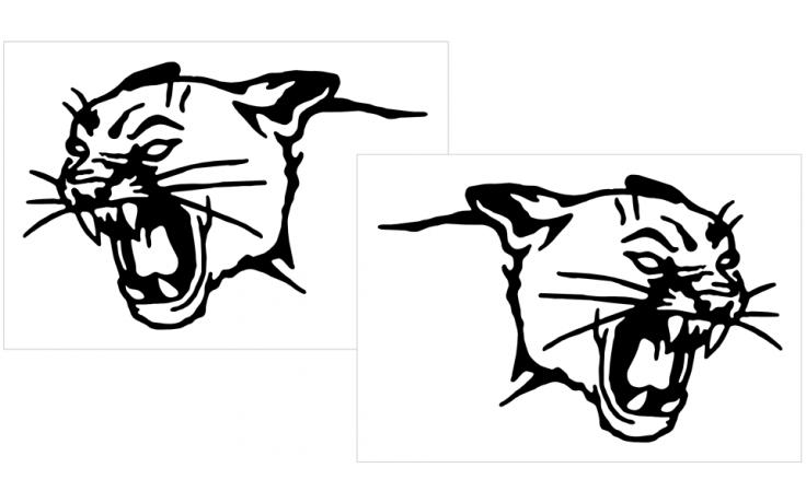 cougar head decal set