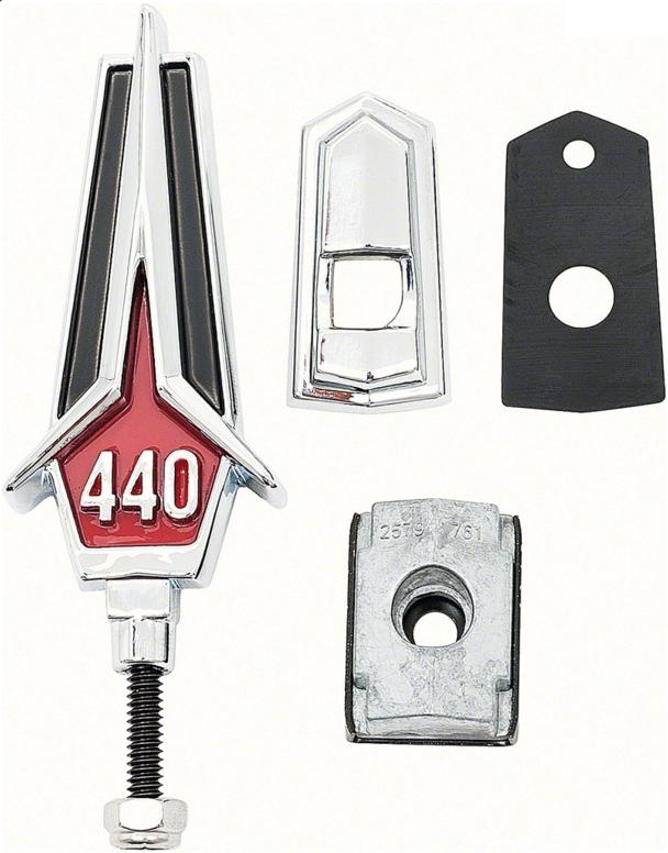 1967 Plymouth GTX 440 Hood Ornament Assembly Emblem