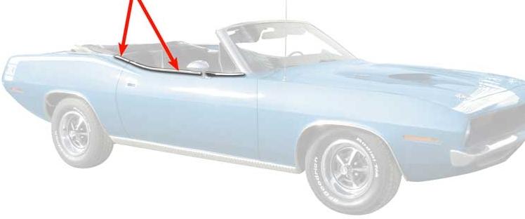 1970-1974 Convertible Barracuda Door Top Edge Trim Moldings Pair - Stainless Steel