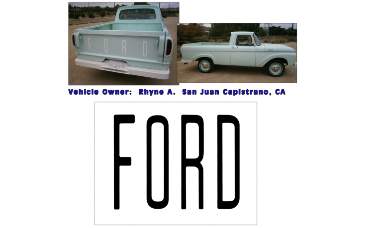 1961-63 Ford Unibody Tailgate Letter Decal Set