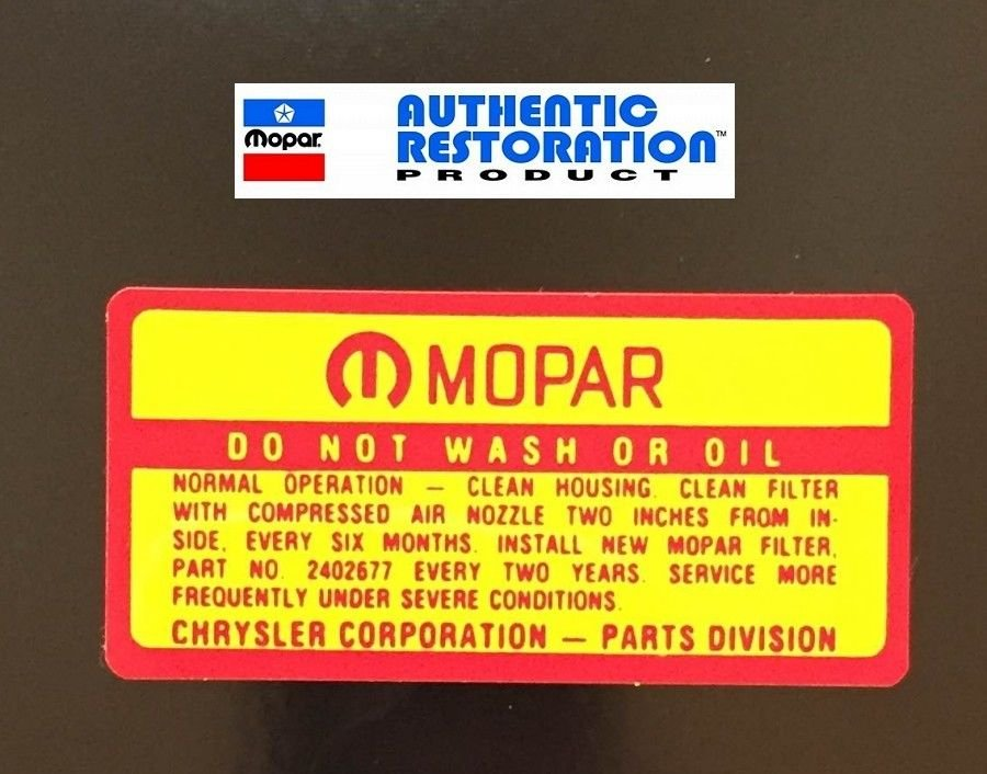 1964 -1969 Air Cleaner Service Decal